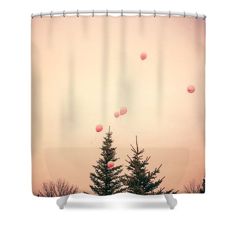 Balloons Shower Curtain featuring the photograph Up Up And Away by Debi Bishop