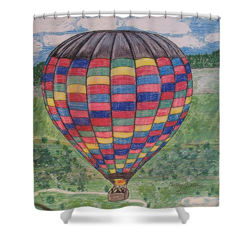 Balloon Ride Shower Curtain featuring the painting Up Up And Away by Kathy Marrs Chandler