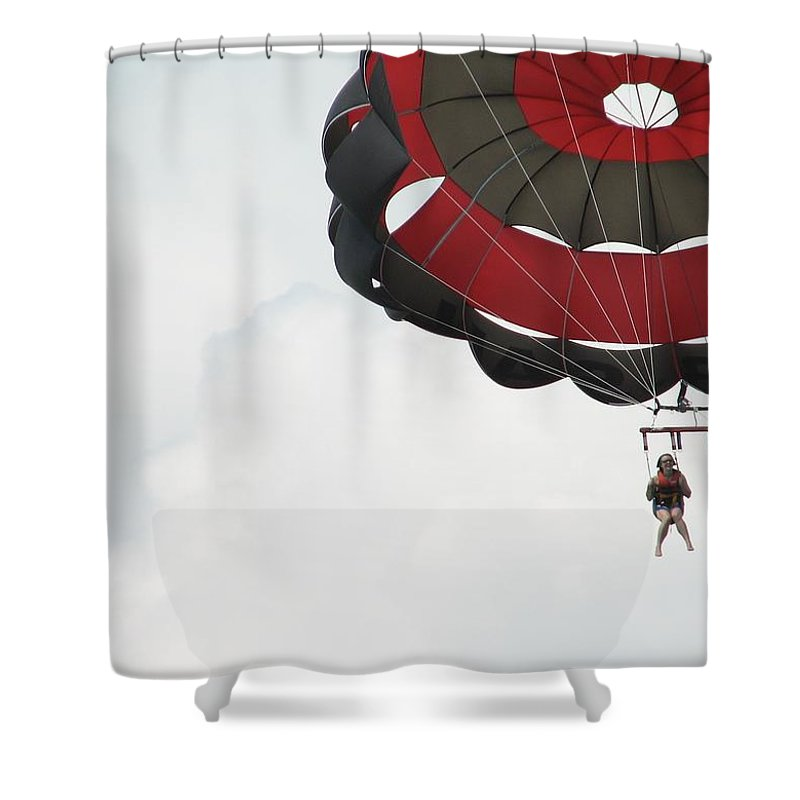 Parasail Shower Curtain featuring the photograph Up Up And Away by Kelly Mezzapelle