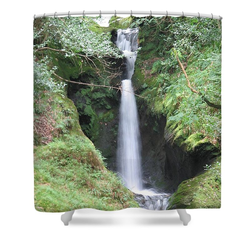 Glendalough Shower Curtain featuring the photograph Upper Falls by Kelly Mezzapelle