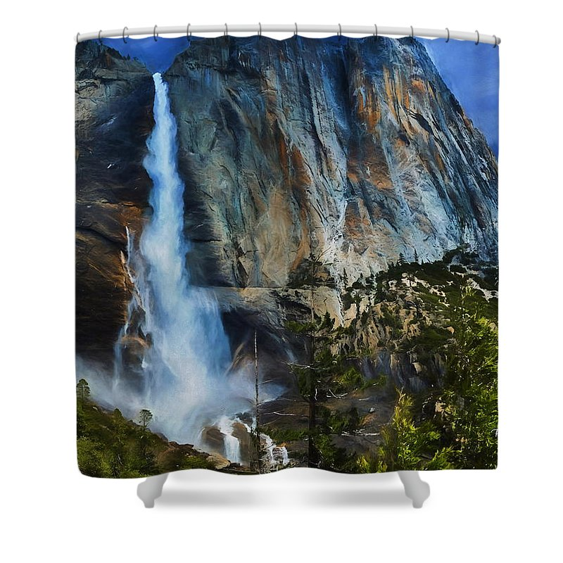 Yosemite Shower Curtain featuring the painting Upper Yosemite Falls by Russ Harris