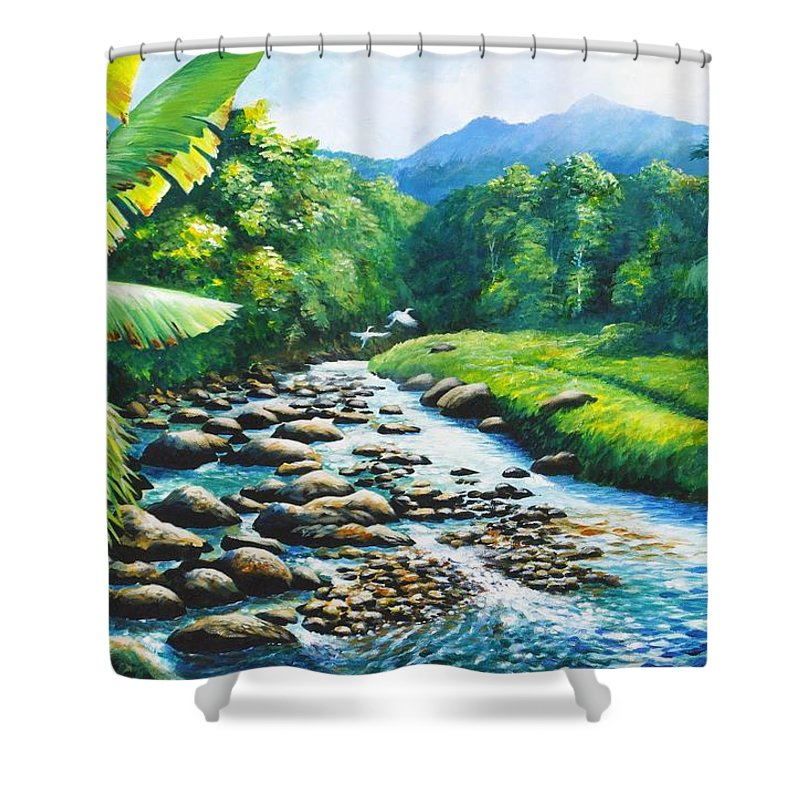 Chris Cox Shower Curtain featuring the painting Upriver by Christopher Cox