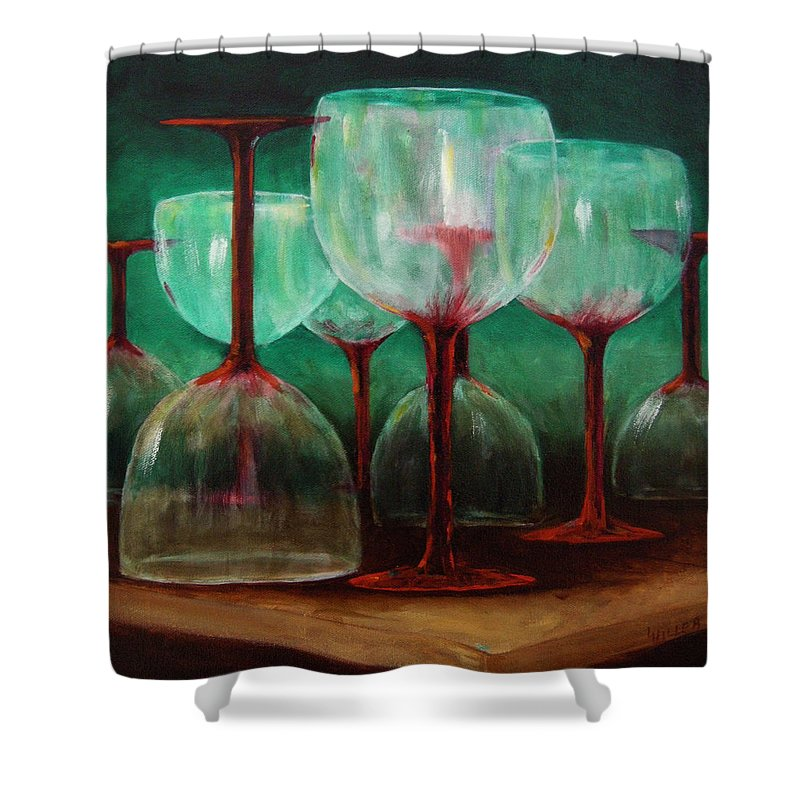 Oil Shower Curtain featuring the painting Upsidedown by Linda Hiller