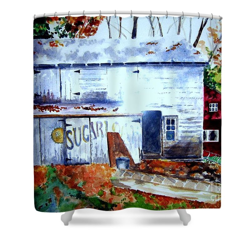 Autumn Shower Curtain featuring the painting Upstate Barn by Sandy Ryan