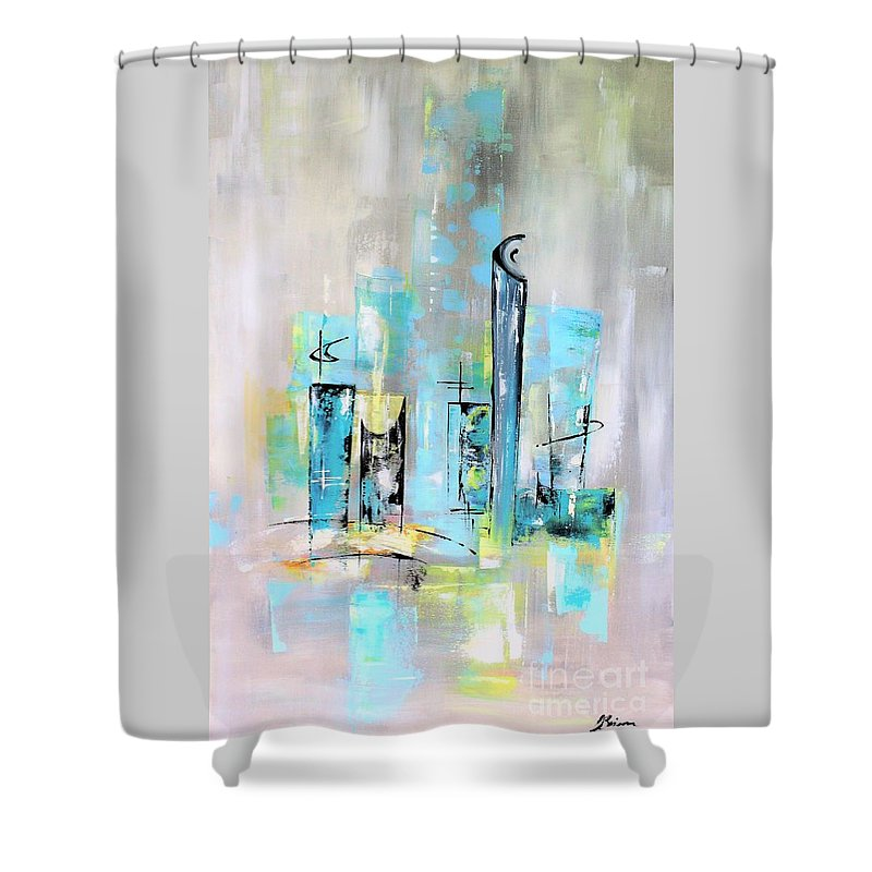Mid-century Shower Curtain featuring the painting Uptown Mid-century Modern Abstract Art by Angela Bisson