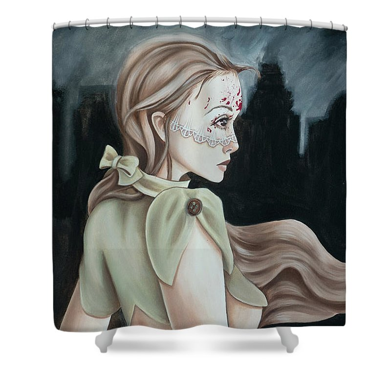 Rain Shower Curtain featuring the painting Urban Assassin  by Camille Singer