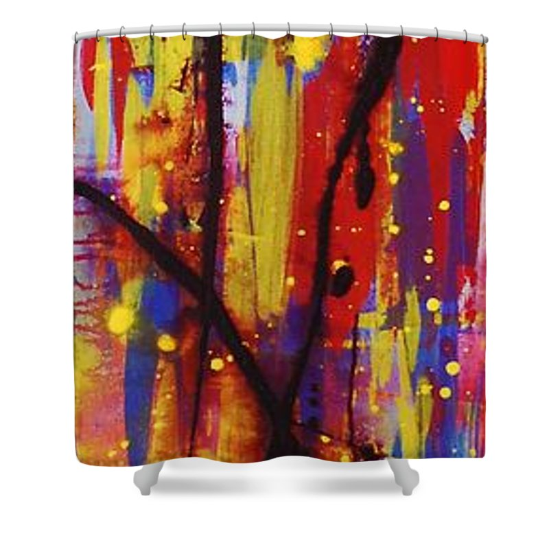 Abstract Shower Curtain featuring the painting Urban Carnival by Lauren Luna
