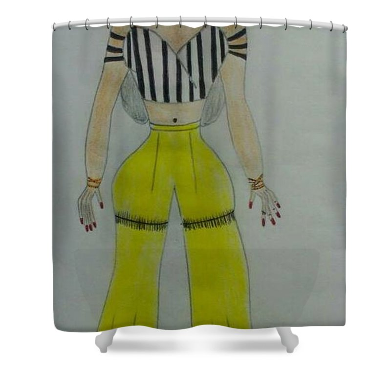Fashion Design Sketch Shower Curtain featuring the drawing Urban Chic by Vivianne Mumani