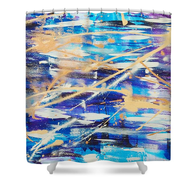 Abstract Shower Curtain featuring the painting Urban Footprint by Lauren Luna