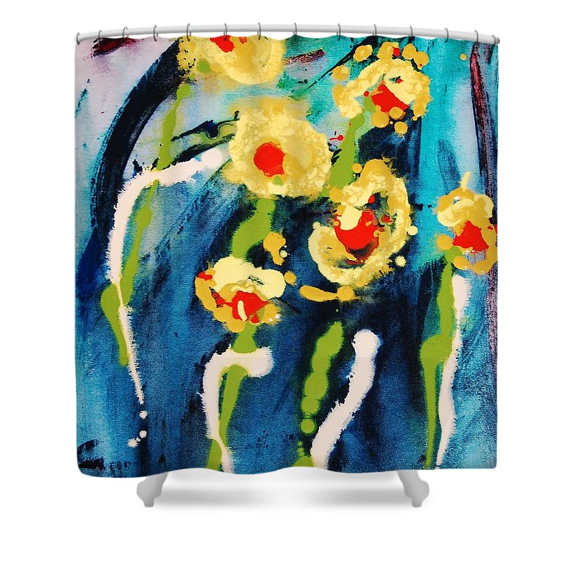 Abstract Shower Curtain featuring the painting Urban Garden by Lauren Luna