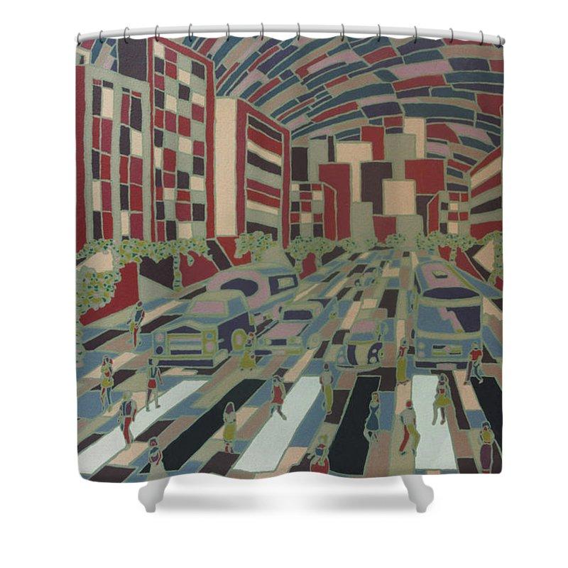 City Shower Curtain featuring the painting Urban Music Vlll by Muniz Filho
