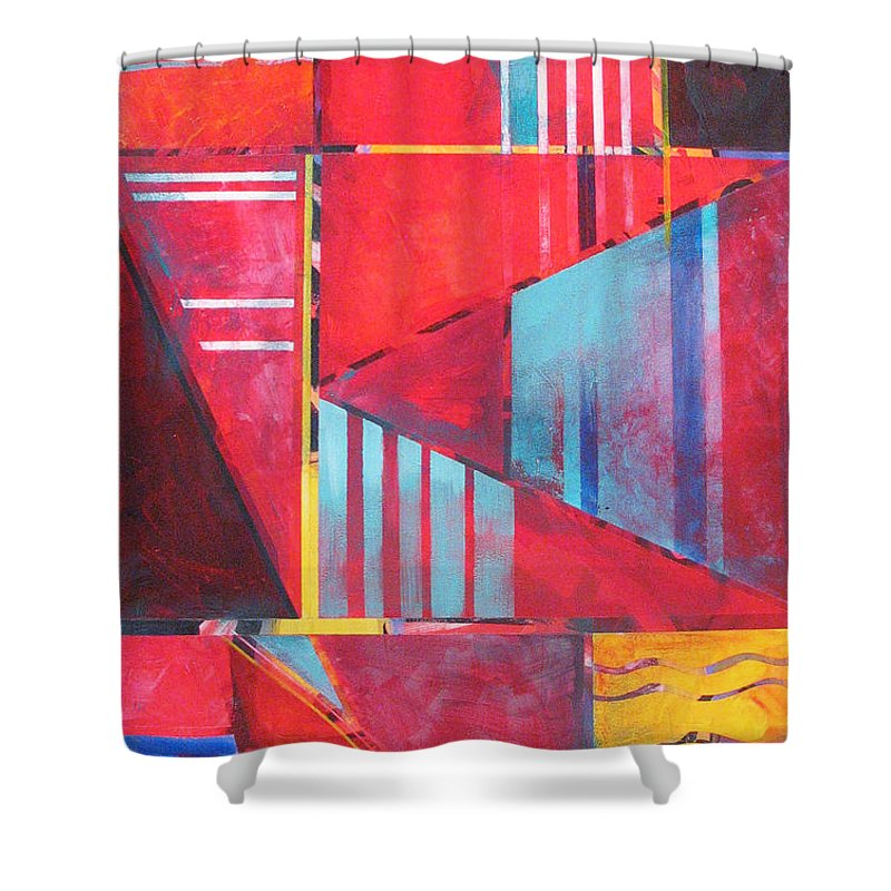 Geometric Shower Curtain featuring the painting Urban Red by Rollin Kocsis