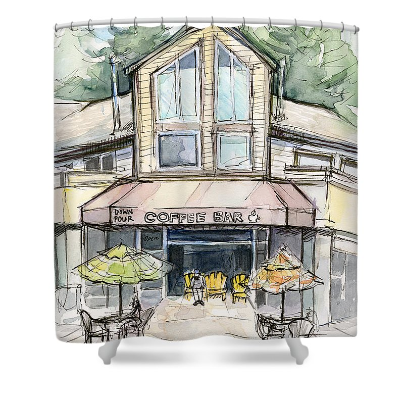 Bridle Trails Shower Curtain featuring the painting Coffee Shop Watercolor Sketch by Olga Shvartsur