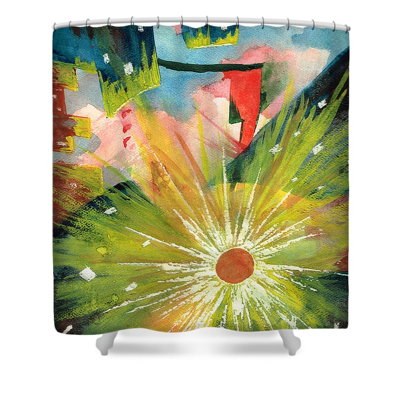 Downtown Shower Curtain featuring the painting Urban Sunburst by Andrew Gillette