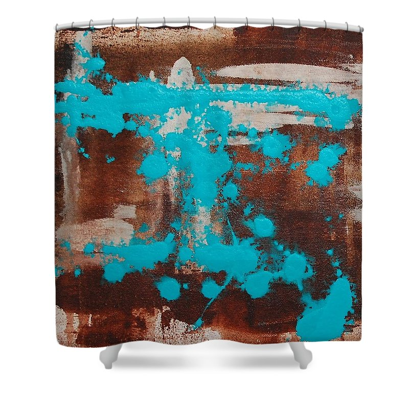 Diptech Shower Curtain featuring the painting Urbanesque I by Lauren Luna