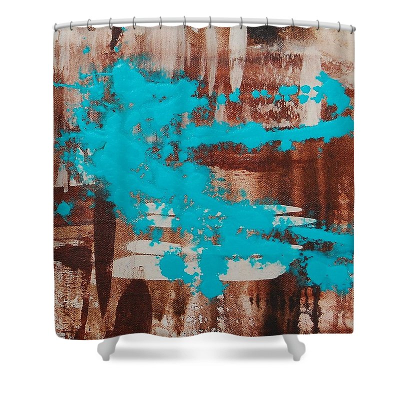 Urban Shower Curtain featuring the painting Urbanesque II by Lauren Luna