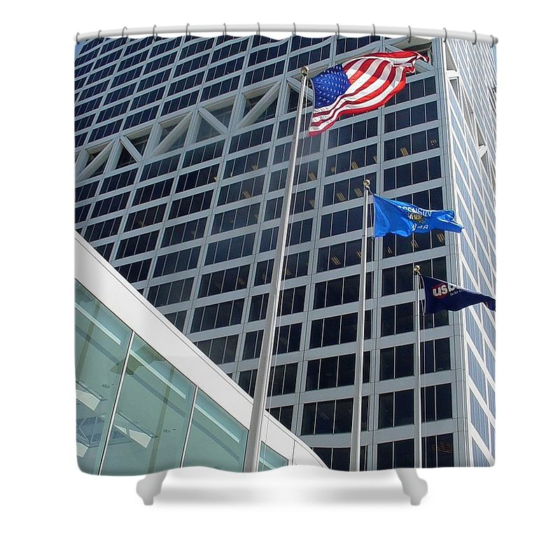 Us Bank Shower Curtain featuring the photograph Us Bank With Flags by Anita Burgermeister