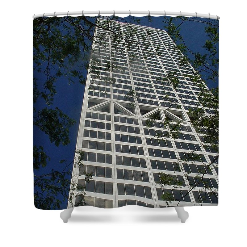 Us Bank Shower Curtain featuring the photograph Us Bank With Trees by Anita Burgermeister