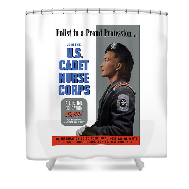 Nursing Shower Curtain featuring the painting Us Cadet Nurse Corps - Ww2 by War Is Hell Store
