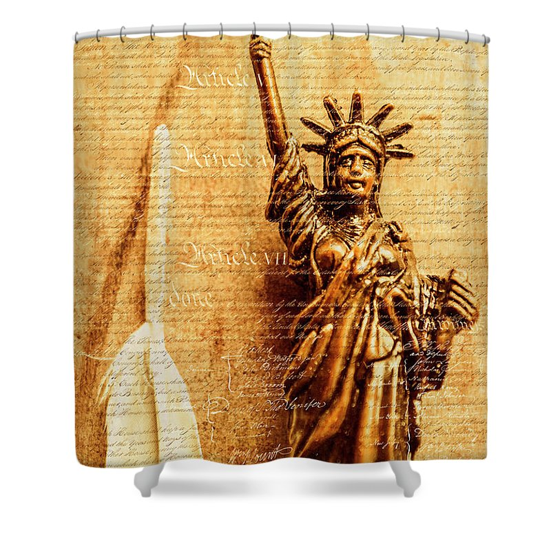 Liberty Shower Curtain featuring the photograph Us Constitution by Jorgo Photography - Wall Art Gallery