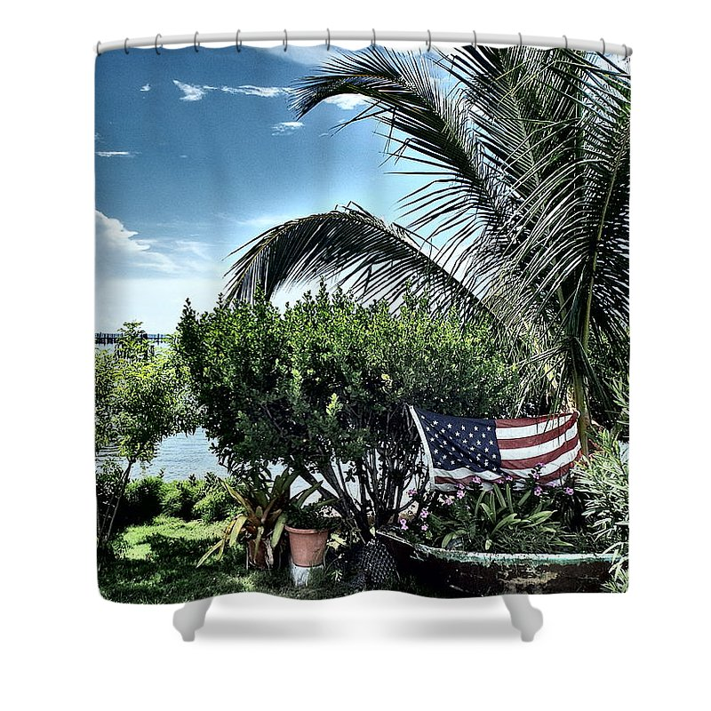 Amerian Flag Shower Curtain featuring the photograph US Flag in the Abaco Islands, Bahamas by Cindy Ross