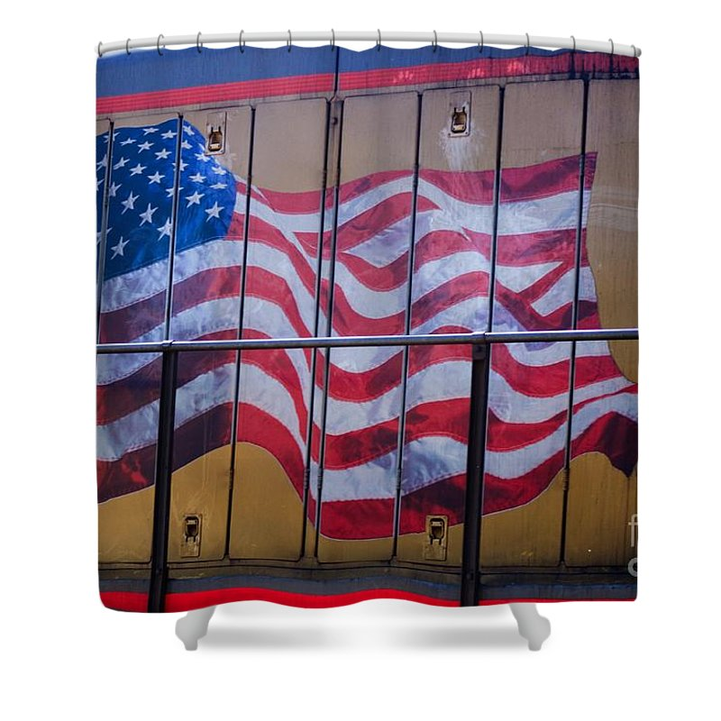 Flag Shower Curtain featuring the photograph Us Flag On Side Of Freight Engine by Thomas Marchessault