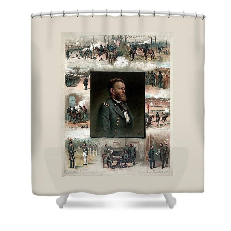 President Grant Shower Curtain featuring the painting Us Grant's Career In Pictures by War Is Hell Store
