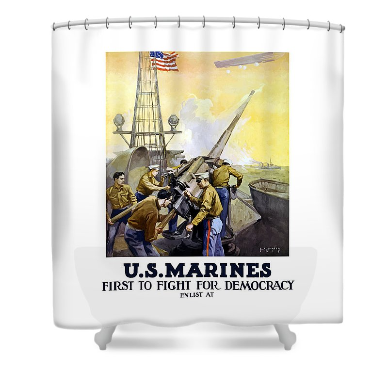 Marines Shower Curtain featuring the painting Us Marines -- First To Fight For Democracy by War Is Hell Store