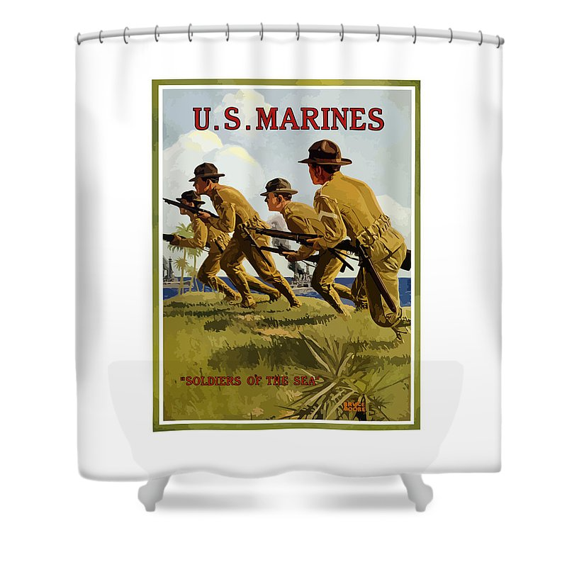 Marines Shower Curtain featuring the painting US Marines - Soldiers Of The Sea by War Is Hell Store