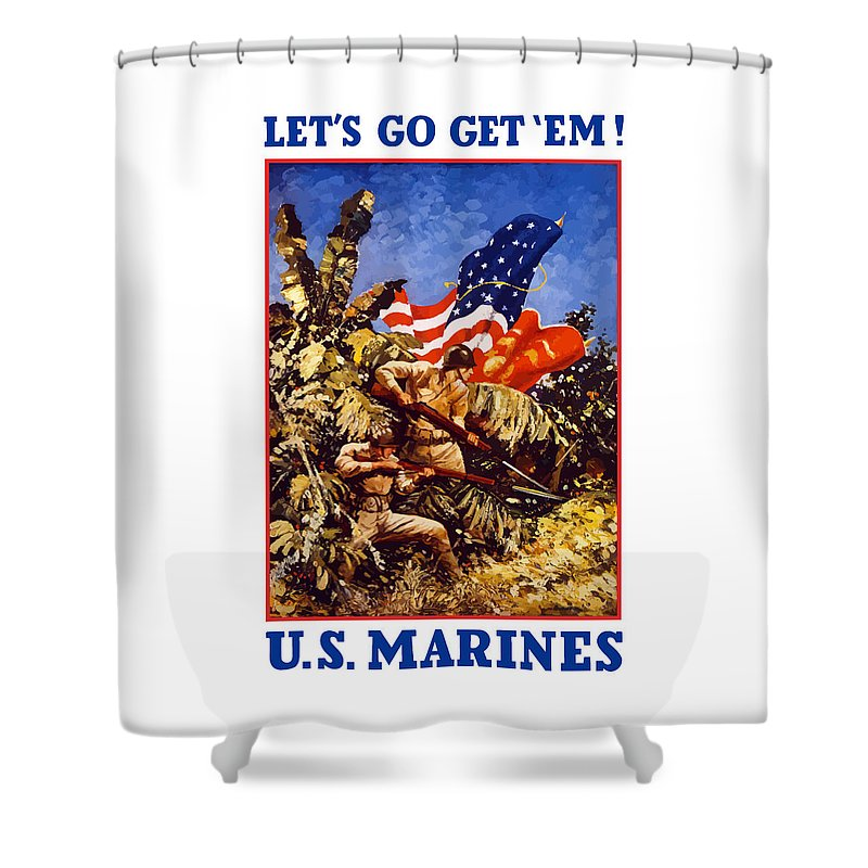 Marines Shower Curtain featuring the painting Us Marines - Ww2 by War Is Hell Store