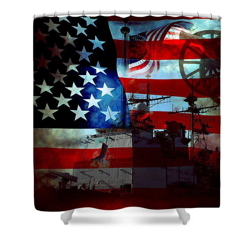 War Shower Curtain featuring the photograph Usa Patriot Flag And War by Phill Petrovic