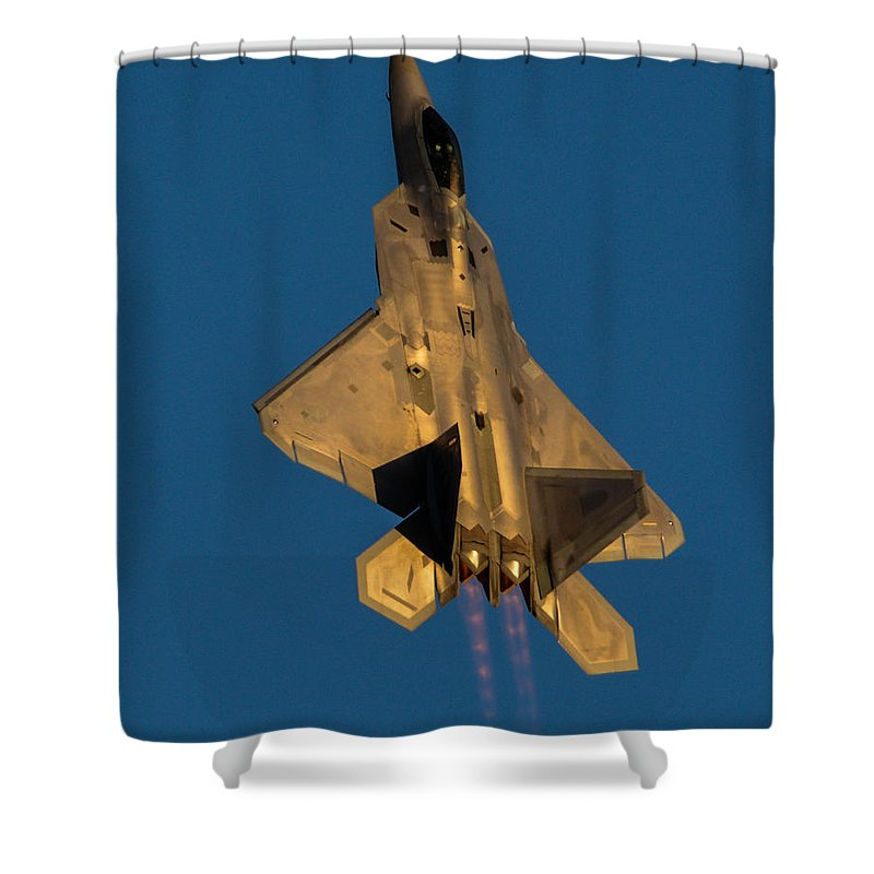 California Shower Curtain featuring the photograph Usaf F-22 Raptor Demo Team 2 by Tommy Anderson