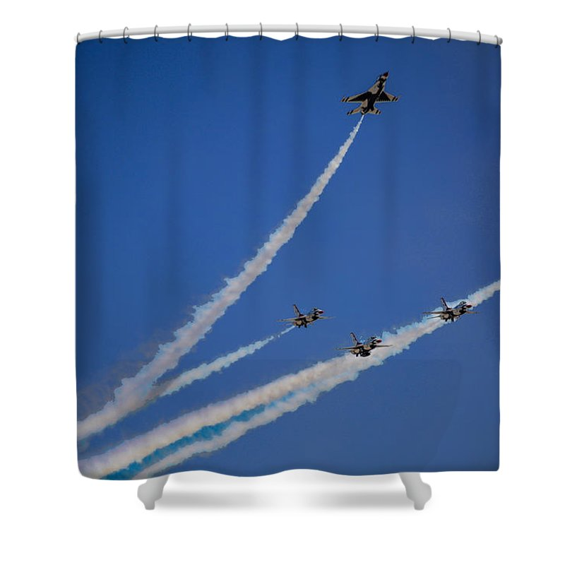 California Shower Curtain featuring the photograph Usaf Thunderbirds Media Day 2 by Tommy Anderson