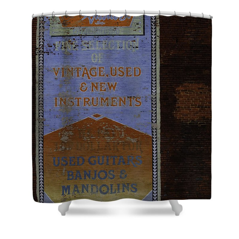 Sign Shower Curtain featuring the photograph Used Guitars by Kelly E Schultz