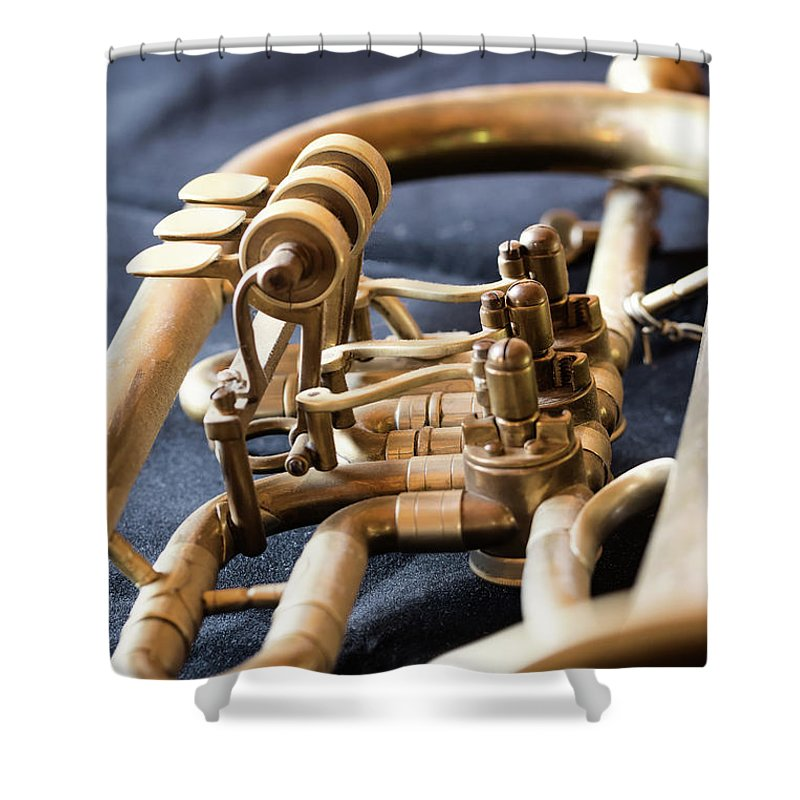 Old Shower Curtain featuring the photograph Used Old Trumpet, Closeup by Jaroslav Frank
