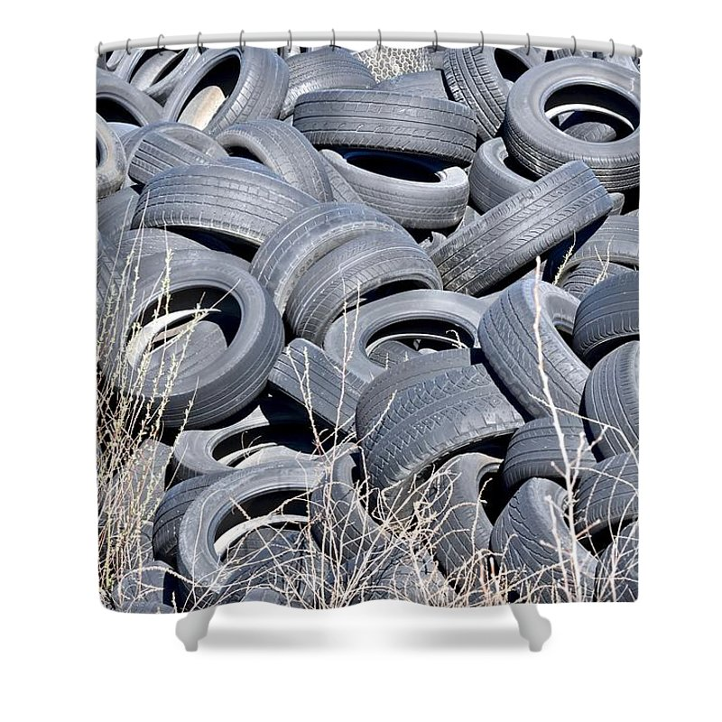 Car Tires Shower Curtain featuring the photograph Used Tires At Junk Yard by Jeramey Lende