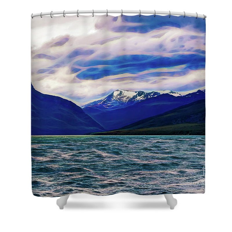 Ushuaia Shower Curtain featuring the photograph Ushuaia Ar Ocean Mountains Clouds by Stefan H Unger