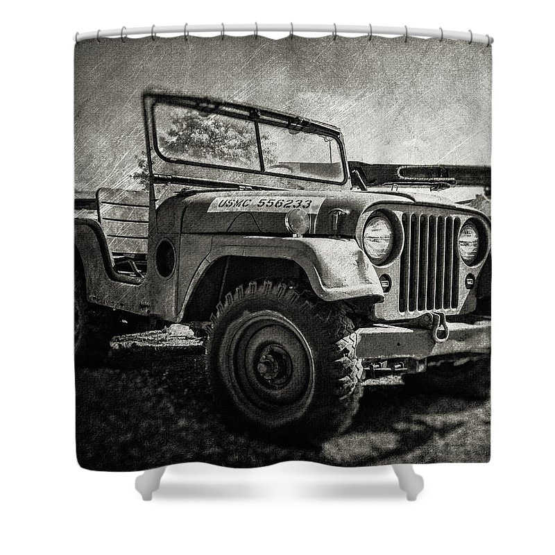 Military Jeep For Sale >> Usmc Jeep Cropped Shower Curtain