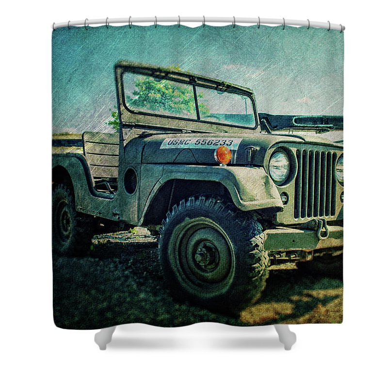 Military Jeep For Sale >> Usmc Jeep In Color Shower Curtain