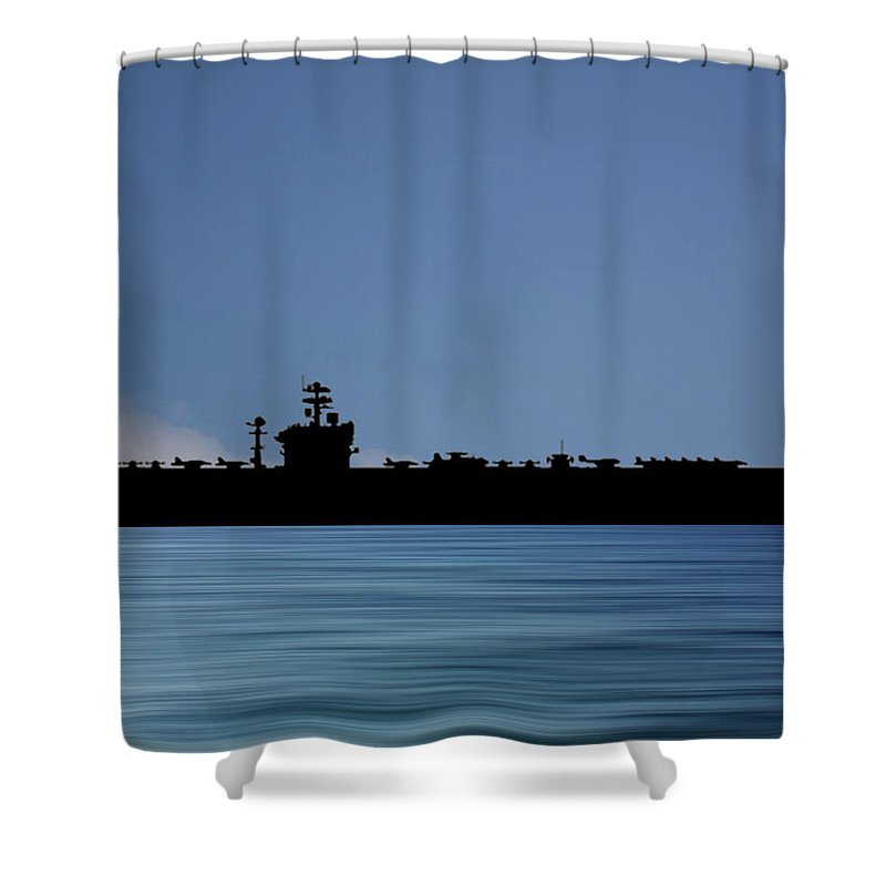 Uss Abraham Lincoln Shower Curtain featuring the photograph USS Abraham Lincoln 1988 v4 by Smart Aviation