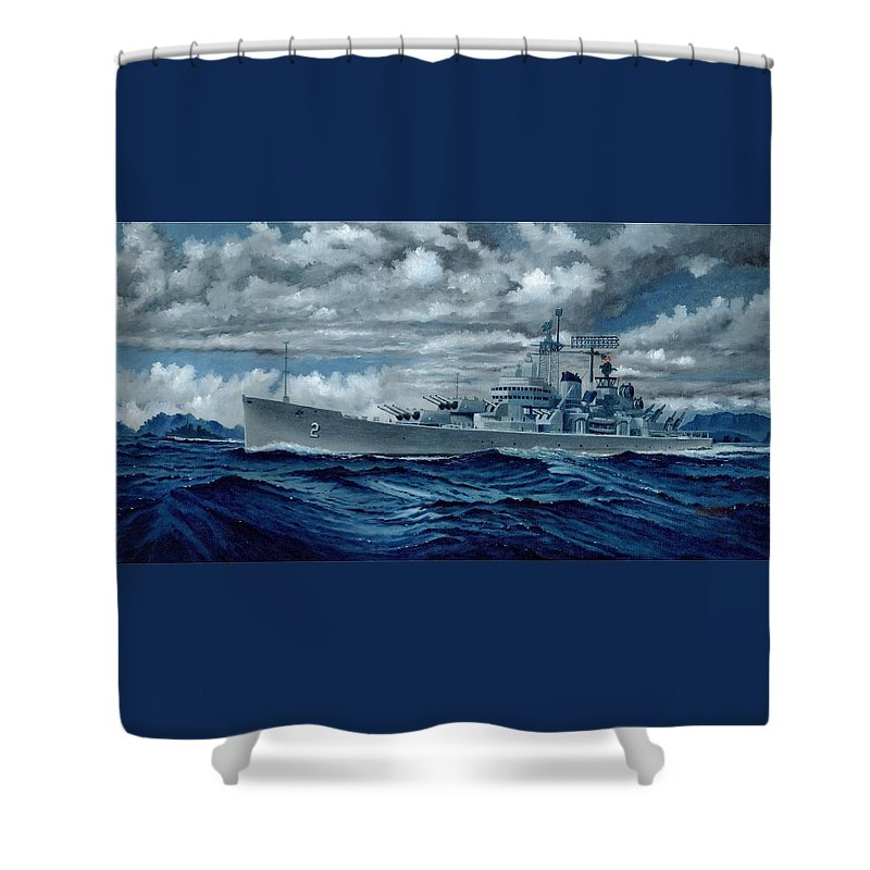 Uss Canberra Cag-2 Shower Curtain featuring the painting Uss Canberra Cag-2 by George Bieda