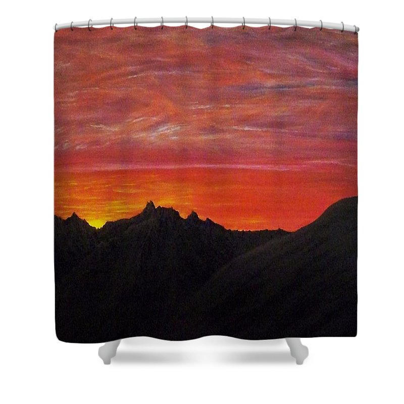 Sunset Shower Curtain featuring the painting Utah Sunset by Michael Cuozzo