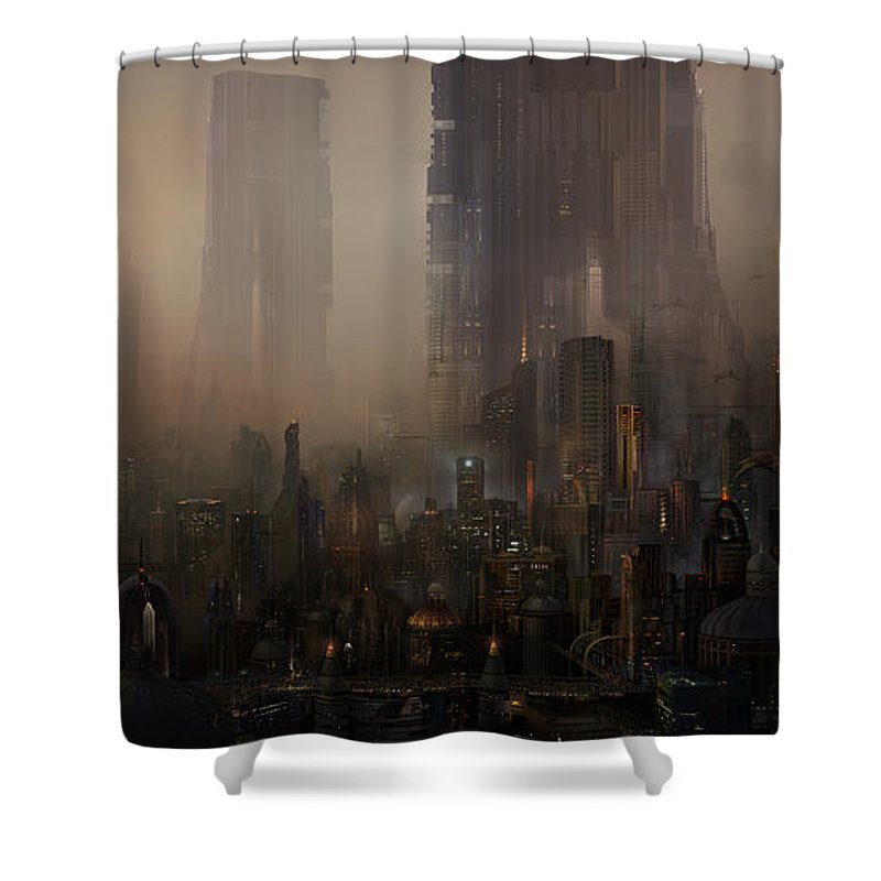 Future City Shower Curtain featuring the painting Utherworlds Cohabitations by Philip Straub