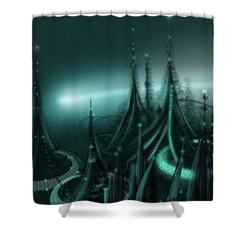 Cityscape Shower Curtain featuring the digital art Utopia by James Christopher Hill
