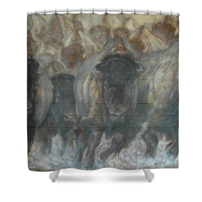 Shower Curtain featuring the painting Uttc Buffalo Mural Right Panel by Wayne Pruse