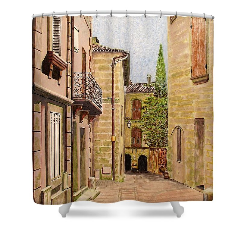 Uzes Shower Curtain featuring the drawing Uzes, South Of France by Olga Silverman