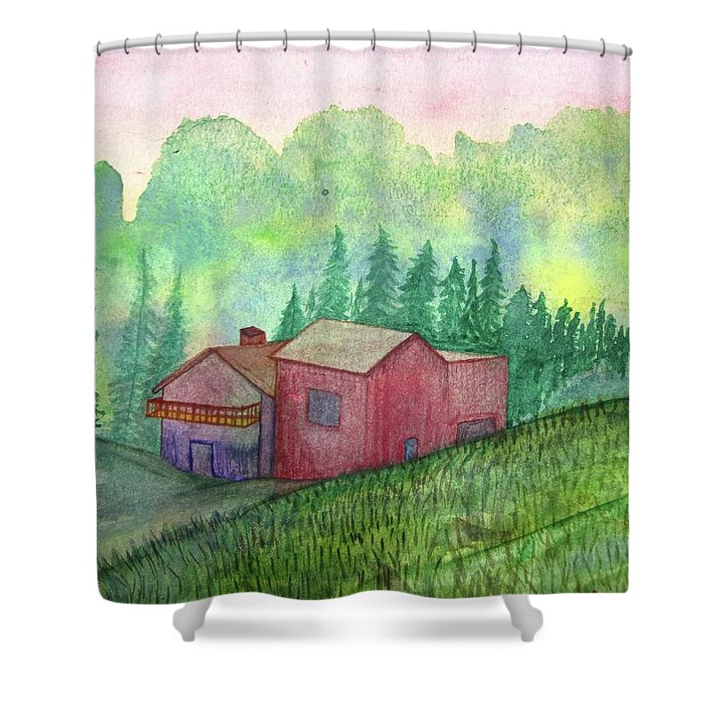 Vacation Shower Curtain featuring the painting Vacation Home by Mary Ellen Frazee