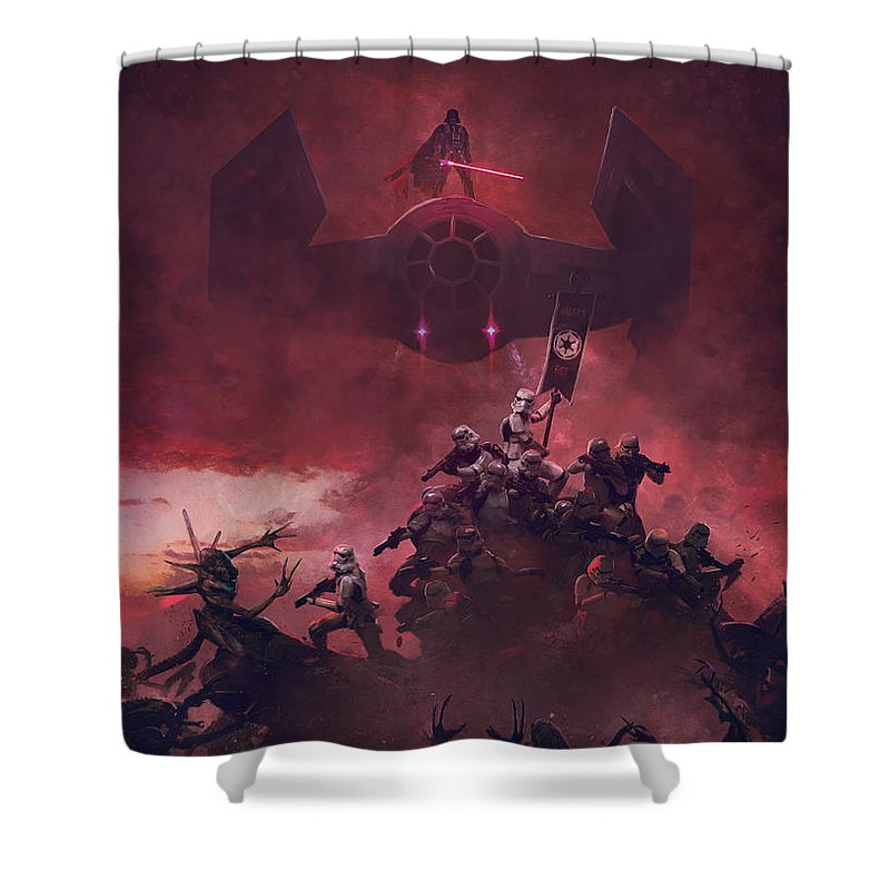Star Wars Shower Curtain featuring the digital art Vader vs aliens 2 by Exar Kun