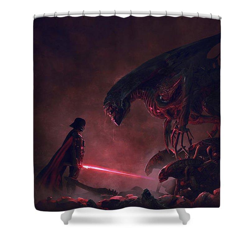 Star Wars Shower Curtain featuring the digital art Vader vs aliens 4 by Exar Kun