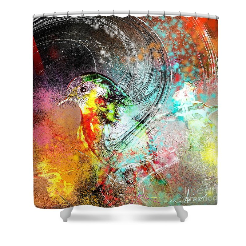Bird Shower Curtain featuring the painting Vagabond by Miki De Goodaboom